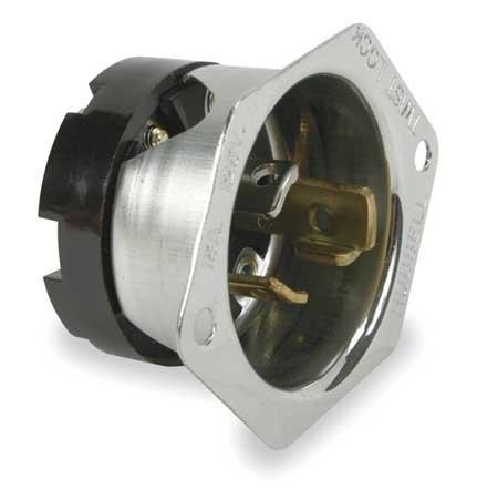 15A Flanged Locking Inlet 2P 3W 125VAC L5-15P BK