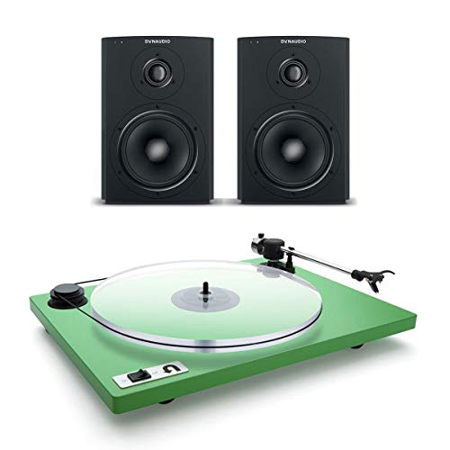 Dynaudio Xeo 2 Wireless Bookshelf Speakers and U-Turn Orbit Plus Turntable with Built-in Preamplifier (Green) - Dynaudio Studio Speakers