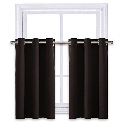 (NICETOWN Kitchen Blackout Valances Window Treatments - Eyelet Top Home Fashion Blackout Curtains Tailored Tier (Double Panels, W42 x L24 inches + 1.2 inches Header, Toffee Brown))