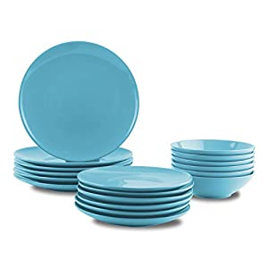 AmazonBasics 18-Piece Stoneware Dinnerware Set – Sky Blue, Service for 6