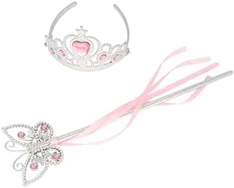 Princess Dress Up Princess Wands Tiaras and Crowns for Little Girls Butterfly Wand Set Pink
