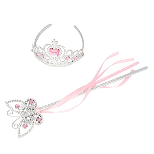 Princess Dress Up Princess Wands Tiaras and Crowns for Little Girls Butterfly Wand Set Pink (Wand Tiara)