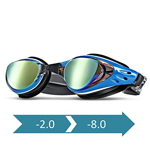 WAVE Prescription Unisex Swim Goggles with Vision Mirror Coated, Optical Corrective Swimming Goggles Scratch Resistant Anti-fog UV Protection Nearsighted Allergy-free, Ear Plugs & Nose Piece - Glasses Free Prescription