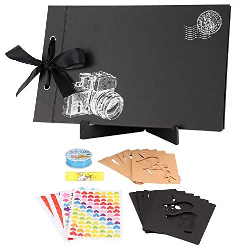 - TEOYALL Scrapbook Photo Album 80 Pages 11.5x7.3 inch Personalized Scrapbook Memory Photo Album Wedding Guest Book DIY Anniversary Travel Scrapbook Kit (Camera#Black)