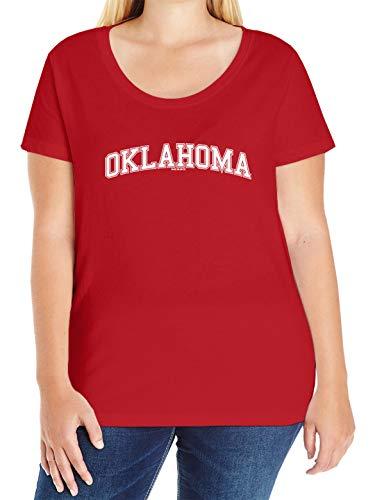 Oklahoma - State School University Sports Ladies Curvy T-Shirt (Red, 3X (22-24))