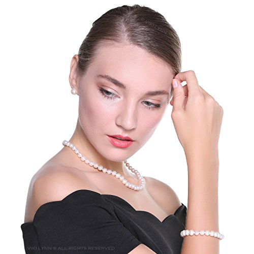 Pearl Necklace And Earring Set For Women. Freshwater Cultured Pearl Necklace Set Includes Stunning Bracelet and Stud Earrings Jewelry for Women - VIKI LYNN #pearls