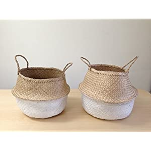 Dipped White Sea Grass Belly Basket Panier Boule Storage Nursery Toy Laundry Easter (Medium)