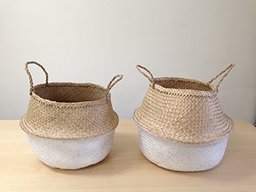 Dipped White Sea Grass Belly Basket Panier Boule Storage Nursery Toy Laundry Easter (Small)