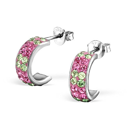 925 Sterling Silver Pink & Green Crystal Semi Hoop Stud Earrings 22139
