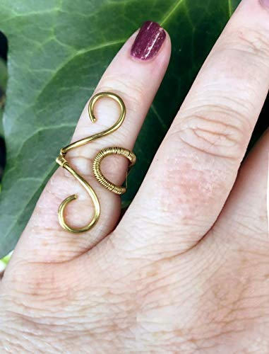 Ancient Greece Goddess Gold Brass Ring, SIZE 4-7, Boho Style Handmade Wire-Wrapped Ring, Grecian Jewelry, Adjustable ()