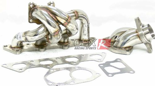 OBX Performance Turbo Manifold Exhaust Header & DownPipe Dp Combo Mitsubishi Lancer Evo 8 VIII 4G63 ()
