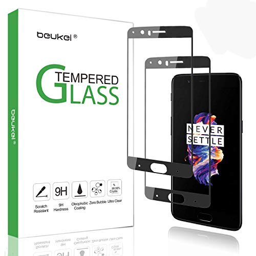 (2 Pack) Beukei for OnePlus 5 Screen Protector Tempered Glass, Glass with...