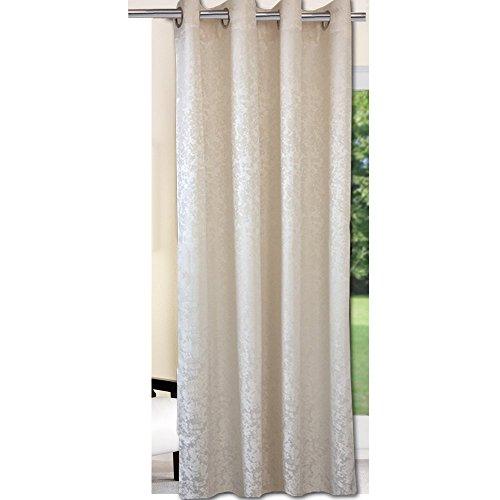JEMIDI Ösenschal - Luan- Blickdicht 140cm x 245cm Ösen Schal Gardine Fenster Dekoschal Creme