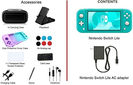 "Newest Nintendo Switch Lite - 5.5"" Touchscreen Display, Built-in Plus Control Pad - Family Holiday Gaming Bundle - 802.11ac WiFi, Bluetooth 4.1 - iPuzzle 9-in-1 Carrying Case - Turquoise"