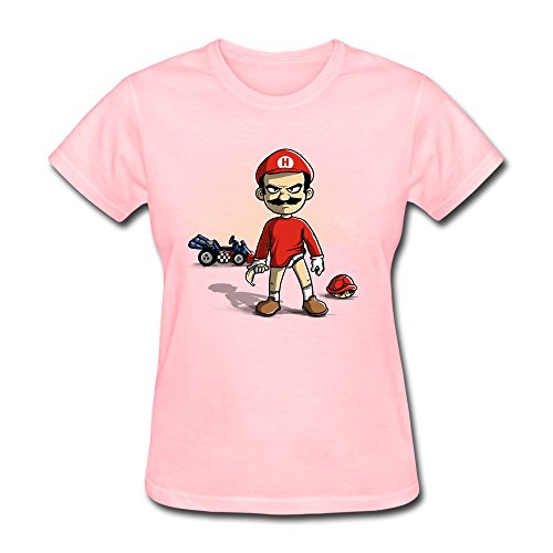 Women Funny Cartoon T-Shirt XS Pink O Neck Swag Apparel by yisw