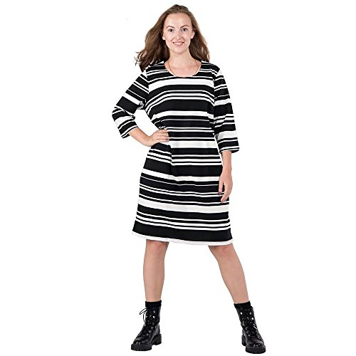 3 4 sleeve black and white striped dress - 8