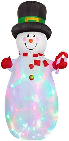 Doingart Lighted Inflatable Snowman Christmas Decoration – 6ft Blow Up Snowman with Hat and Built-in Multi-Color LED Lights for Christmas Party Yard Garden Decoration