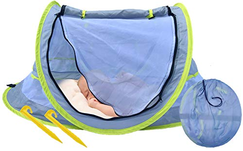 Portable Beach Pop Up Tent for Baby with Mosquito Net, 2 Pegs and Carry Bag, UPF 50+ Material, Lightweight Indoor/Outdoor Baby Crib