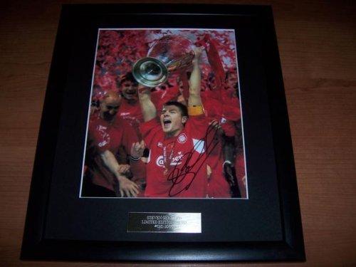 Foto con autografo di Steven Gerrard Liverpool F. C. vincitore Coppa dei Campioni