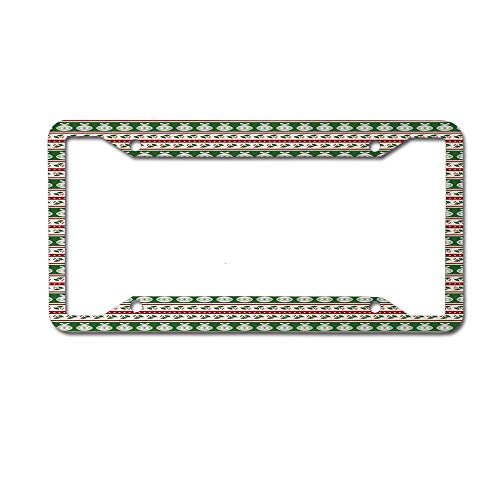 Dinzisalugg Custom Aluminum Metal License Plate Frame Tag Holder Cute,Color Bands with Vivid Baubles Mistletoe Holly and Dots Vintage Seasonal License Plate Frame 4 Holes and Screws