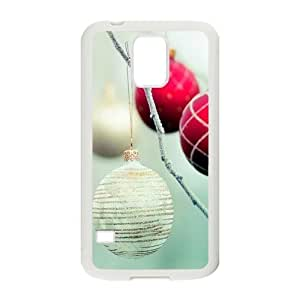 Custom Personalized White Christmas Ball Pattern Print Samsung Galaxy S5 Plastic And TPU (Laser Technology) Durable Case Phone Cover