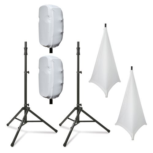 Ultimate Support TS-100 Stands with Complete Stretch Covers Set White by Ulitmate Support