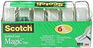 Scotch 7100113449 Tape Magic Tape, 19mm Wide X 21.5M, 6 Rolls in Dispensers, Office Tape