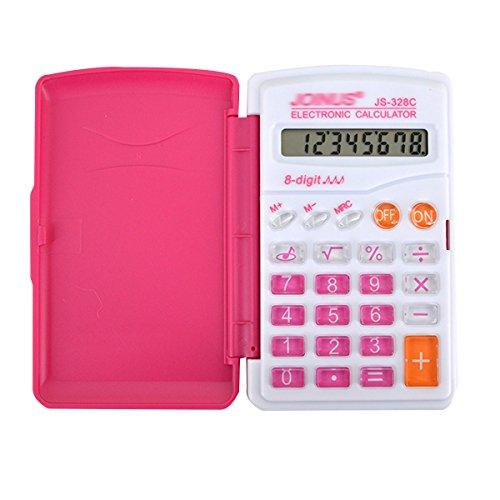 Monique 8 Digit Display Mini Basic Calculator Button Cell Power Flip-Open Cover Portable Hand-held Calculator 2016 Purple (Basic Calculator Purple)
