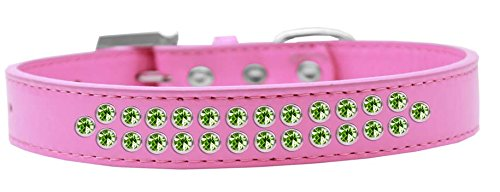 Mirage Pet Products Two Row Lime Green Crystal Bright Pink Dog Collar, Size 20 by Mirage Pet Products