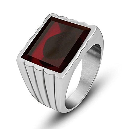 Beydodo Stainless Steel Rings for Mens Biker Ring Bands Red Square Gemstone Simple Rings Punk Red Size 11
