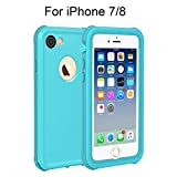 HiMoliwa Phone Case Compatible with iPhone 8/7 Waterproof Case, Wireless Charging Supported Full Protective Waterproof Shockproof Dirtproof Snowproof Case with Kickstand (Blue)