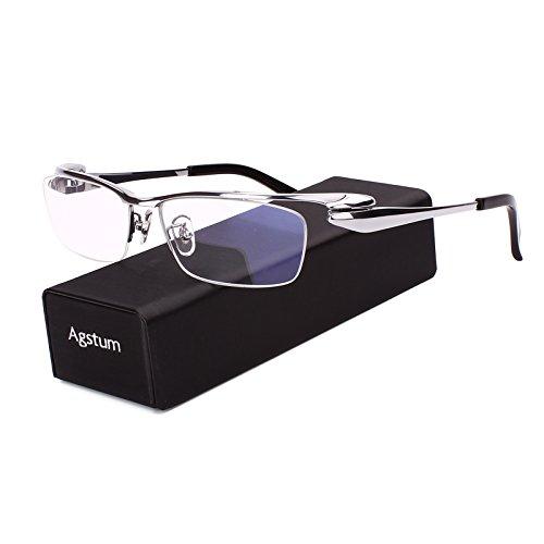 Agstum Pure Titanium Half Rim Optical Business Glasses Frame Clear Lens (Silver, - Silver Eyeglass Frames