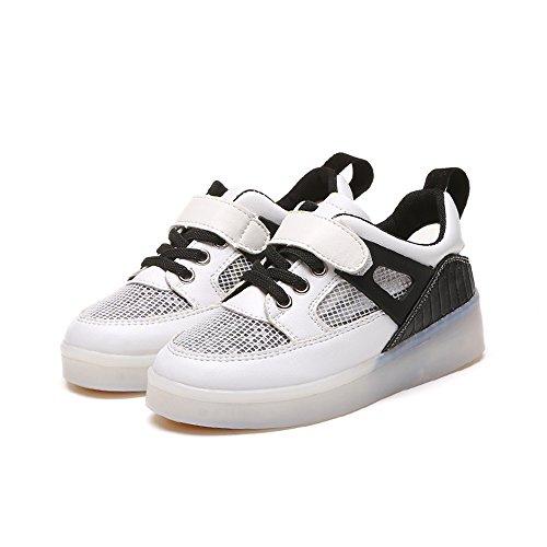 Costumes Uk Ballroom (LED Shoes Breathable 7 Colors USB Rechargable Kid Sneakers Light up Sneaker(Black 10 M US)