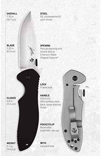 Kershaw Emerson CQC-K Pocket Knives, Manual Opening Folding Knife with Wave Shaped Feature, Multiple Styles