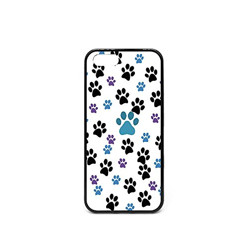 Iphone5 SE Case, Customized Black Blue Purple Dog Paw Prints Black Soft Rubber TPU Bumper Case, Iphone 5S Pet Dog Lover - Iphone Instagram 5s Case