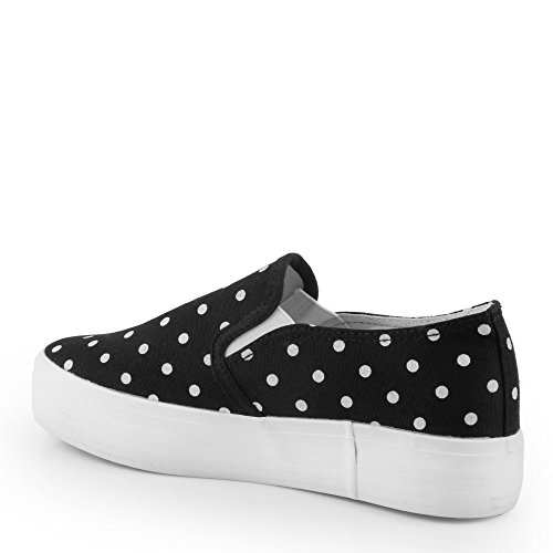 Ideal Shoes - slip-on gepunktet eleanie, Schwarz - Schwarz, 38 EU