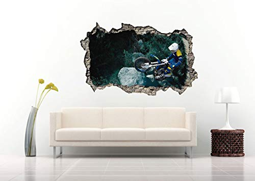 3D Motocross Between The Rocks and Forest Wall Decal Vinyl Sticker Decor for Home Bedroom Children