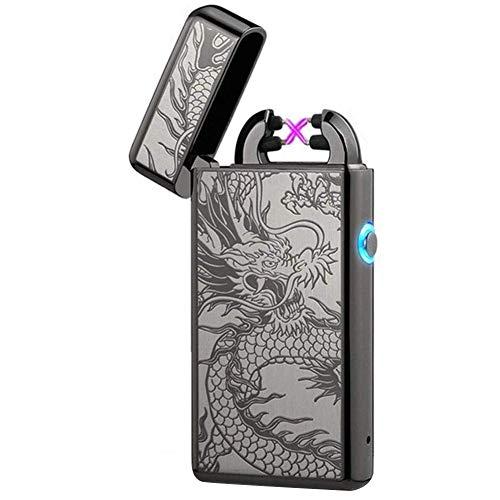 lcfun USB Rechargeable Plasma Lighter Flameless Butane Free Windproof Pulse Dual Arc Lighter Electric Lighter Lighter (Black Dragon)