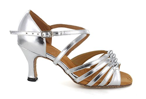 Ribbon Evening Salsa Latin Knot Womens Dress Tango Strappy Party TDA Silver Dance Pumps Ballroom Satin vxCqpI5