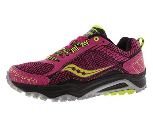 Saucony Women's Grid Excursion TR9 Trail Running Shoe, Pink/Grey/Citron, 7.5 M US