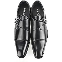 MM/ONE Monkstrap Oxford Shoes Men's Shoes Straight tip toe Fomal Black ,46 EU (US Men's 12 M)
