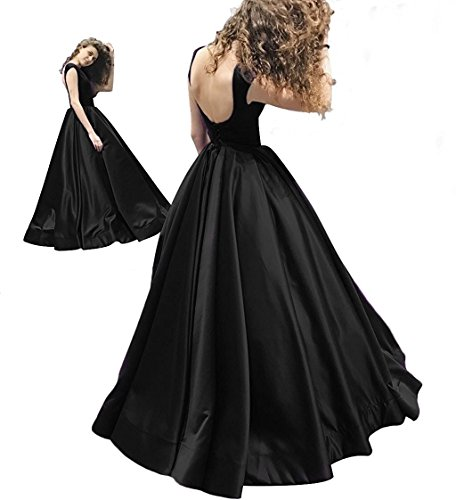 GMAR Romantic Backless Evening Dresses Ruched Satin Long Ball Gown Prom Dress - Ruched Ball