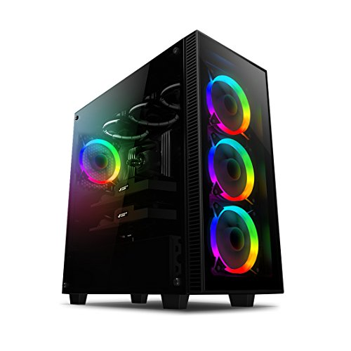 anidees AI-CRYSTAL-AR Mid Tower Liquid Cooling, Gaming ATX Case w/Tempered Glass Side Window and Front Panel, Black interior, RGB LED Fans, E-ATX, 360/280 Radiator Support – Black RGB Version