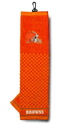 Team Golf NFL Cleveland Browns Embroidered Golf Towel, Checkered Scrubber Design, Embroidered Logo