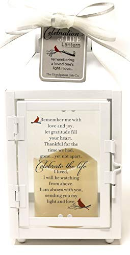 Gift Lantern - Celebration of Life Memorial Lantern with Flickering LED Candle-Thoughtful Bereavement/Sympathy Gift for Loss of Loved One