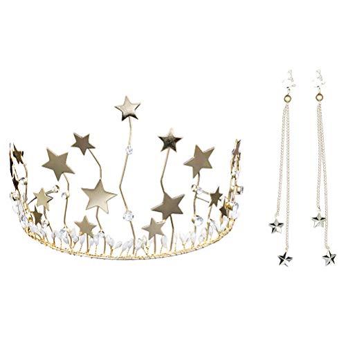 - Lurrose Star Bridal Tiara Rhinestone Decor Gold Wedding Headband Crown with Earring for Women
