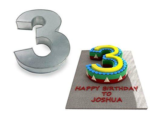 3 Cake Tins - Small Number Three 3 Wedding Birthday Anniversary Cake Baking Pan / Tin 10