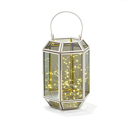 Decorative Geometric Terrarium Lantern - Rectangle Shape | Warm White LED Fairy Lights, Mirrored Glass, Battery Operated, Indoor Use for $<!--$48.99-->