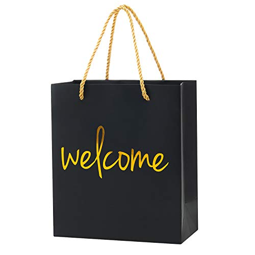 Crisky Welcome Bags Black Gold Gift Bags for Wedding Hotel Guests, Birthday, Baby Shower, Party Favors Gift Bags, Set of 25
