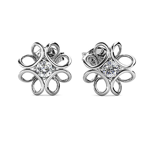Cate & Chloe Alexis Gold Stud Earrings, 18k White Gold Plated Geometric Studs with Swarovski Crystal, Silver Stud Earring Set w/Round Cut Solitaire Crystal, Wedding Anniversary Jewelry MSRP - $119